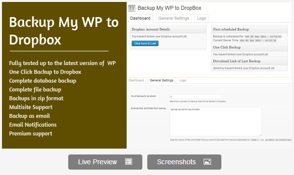 Backup My WP to Dropbox