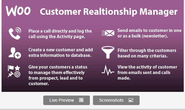 WooCommerce Customer Relationship Manager Plugin
