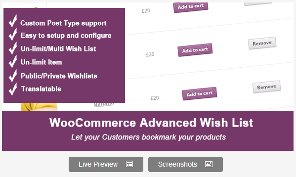 Woocommerce Advanced WishList