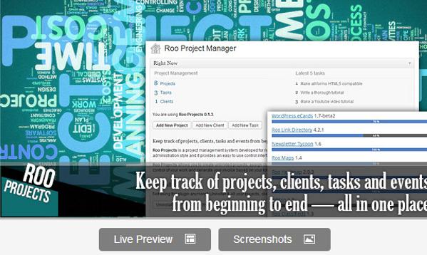 Wordpress Roo Projects Plugin