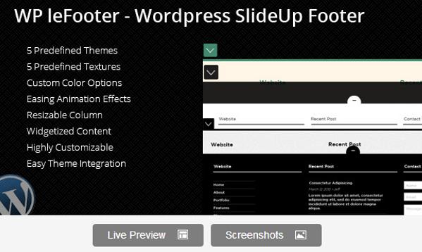 Wordpress SlideUp Footer Plugin