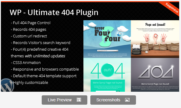 Wordpress Ultimate 404 Plugin
