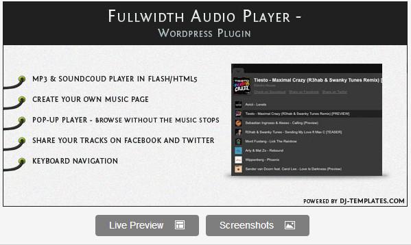 Fullwidth Audio Player - WordPress plugin