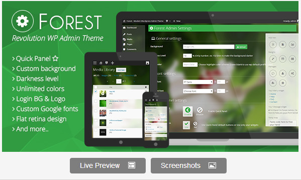 Forest - Revolution WordPress Admin Theme