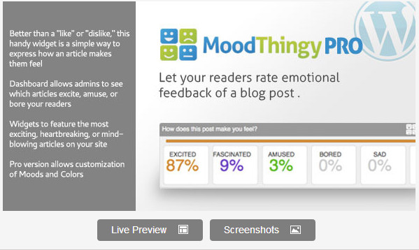 MoodThingy Mood Rating Widget for WordPress PRO