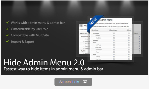 WordPress Hide Admin Menu Plugin