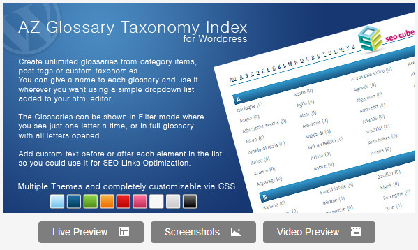 AZ Glossary Taxonomy Index