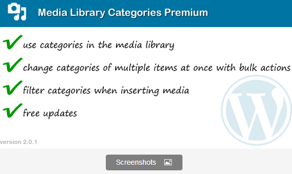 Wordpress Media Library Categories Premium Plugin
