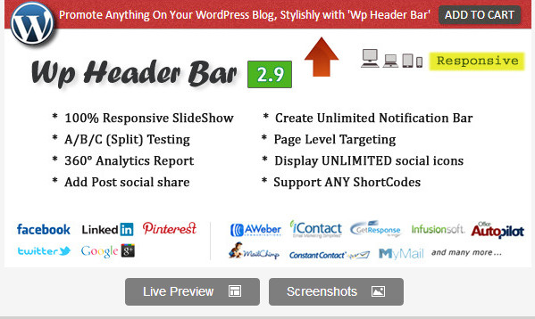Wp Header Bar - WordPress Notification Bar