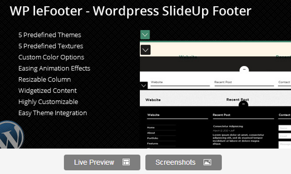 Wordpress SlideUp Footer Plugin