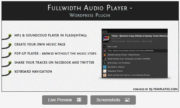 Fullwidth Audio Player