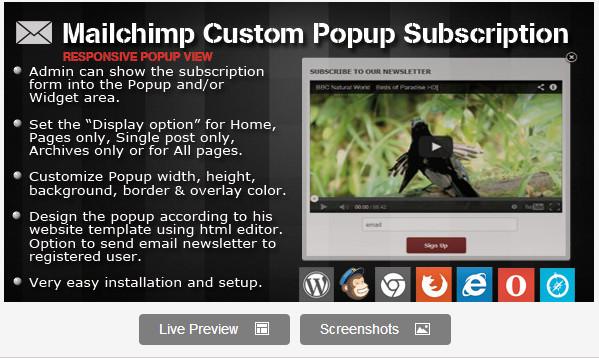Mailchimp Custom Popup Subscription for wordpress