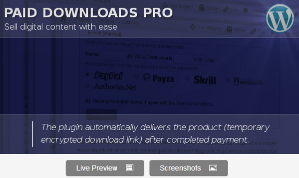 Wordpress Paid Downloads Plugin