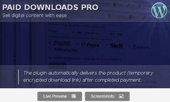 Wordpress Paid Downloads Plugin
