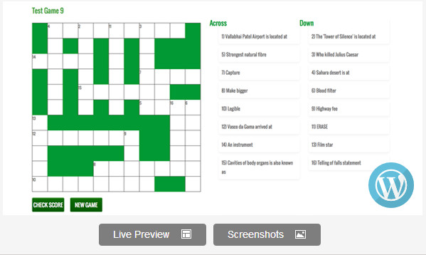 WordPress Responsive Crossword Puzzle Game